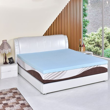 Foam Mattress Bed Pad - Costway Queen Size 3'' Gel Memory Foam Mattress Mat Bed Pad Topper