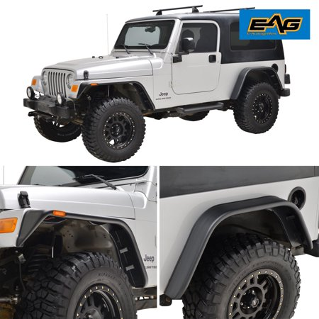EAG Fender Flares with Side LED Lights Flat Style - fits 97-06 Jeep Wrangler TJ - 1 set (4)