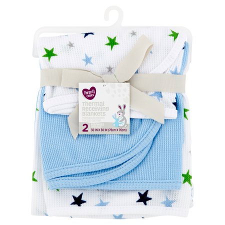 Parent's Choice Thermal Receiving Blankets, Blue, 2 Pack Cotton Thermal Receiving Blanket