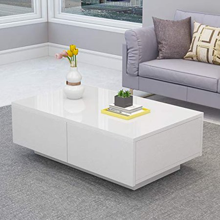 Yosoo Glossy White Modern Coffee Table with 4 Storage Drawers,Rectangle Wood Tea Table Easy Assembly Furniture for Living Room Office Home Cocktail Table ()