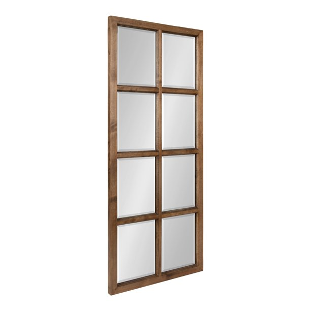 Kate And Laurel Hogan 8 Panel Windowpane Wood Wall Mirror 18 X 42 Rustic Brown Chic Window Inspired Wall Accent Walmart Com Walmart Com