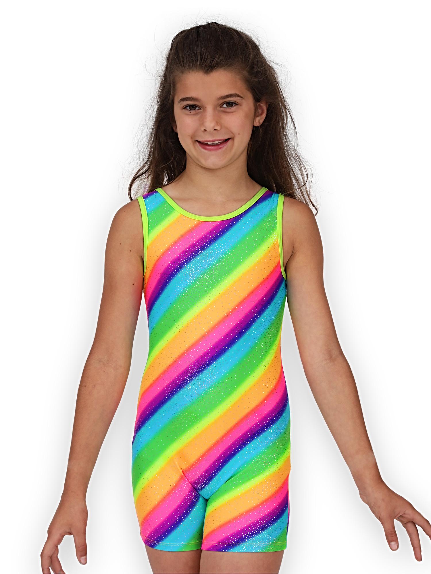 Gymnastics Biketard for Girls - Rainbow Sparkle - Leap Gear by Pelle - 6 | Child Medium