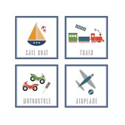 FunDeco Transportation 4 Piece Wall Art Set