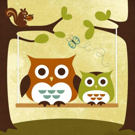 Two Owls on Swing Whimsical Bird Childrens Room Nursery Print Wall Art By Nancy Lee