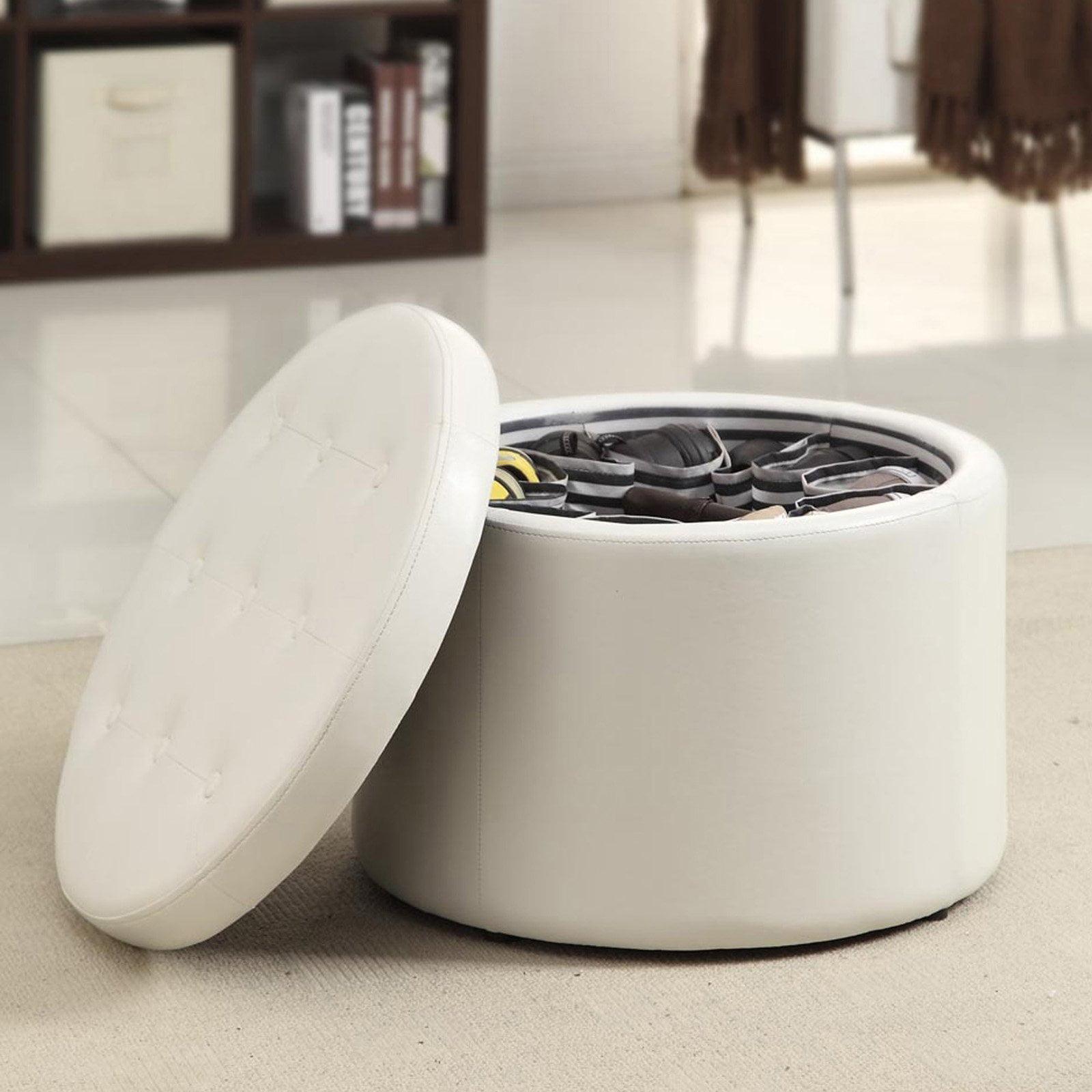 Convenience Concepts Designs4Comfort Round Faux Leather Shoe Ottoman, Multiple Colors by Convenience Concepts