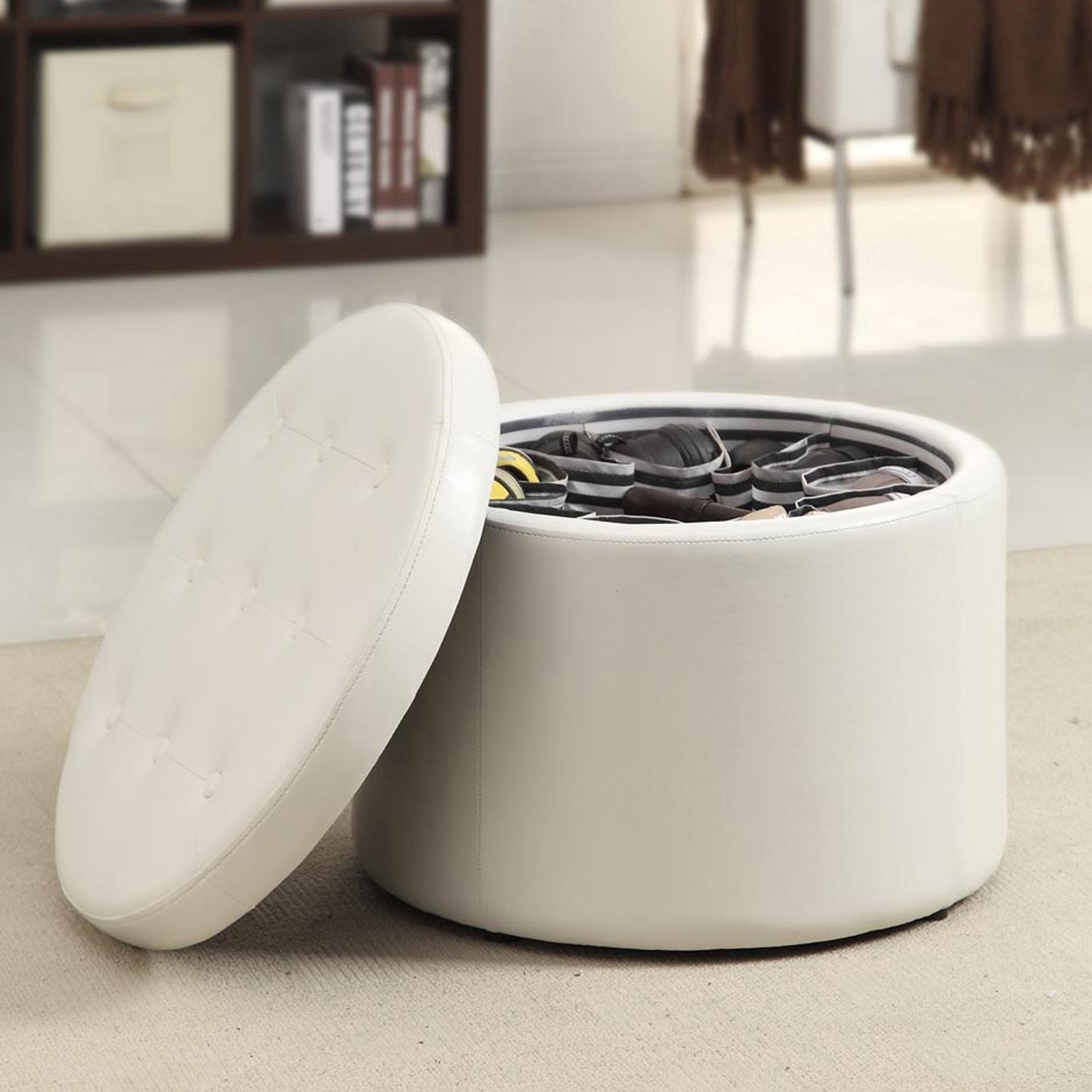 Convenience Concepts Designs4Comfort Round Faux Leather Shoe Ottoman, Multiple Colors