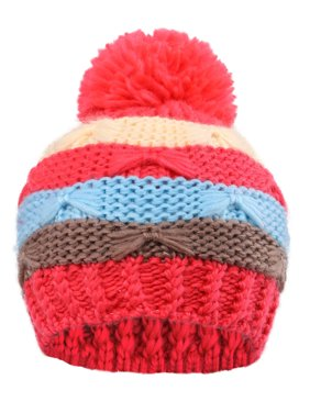 9a8aac0215665f Product Image Arctic Paw Kids' Super Chunky Striped Knit Beanie with Yarn Pompom  Hat,Red Striped