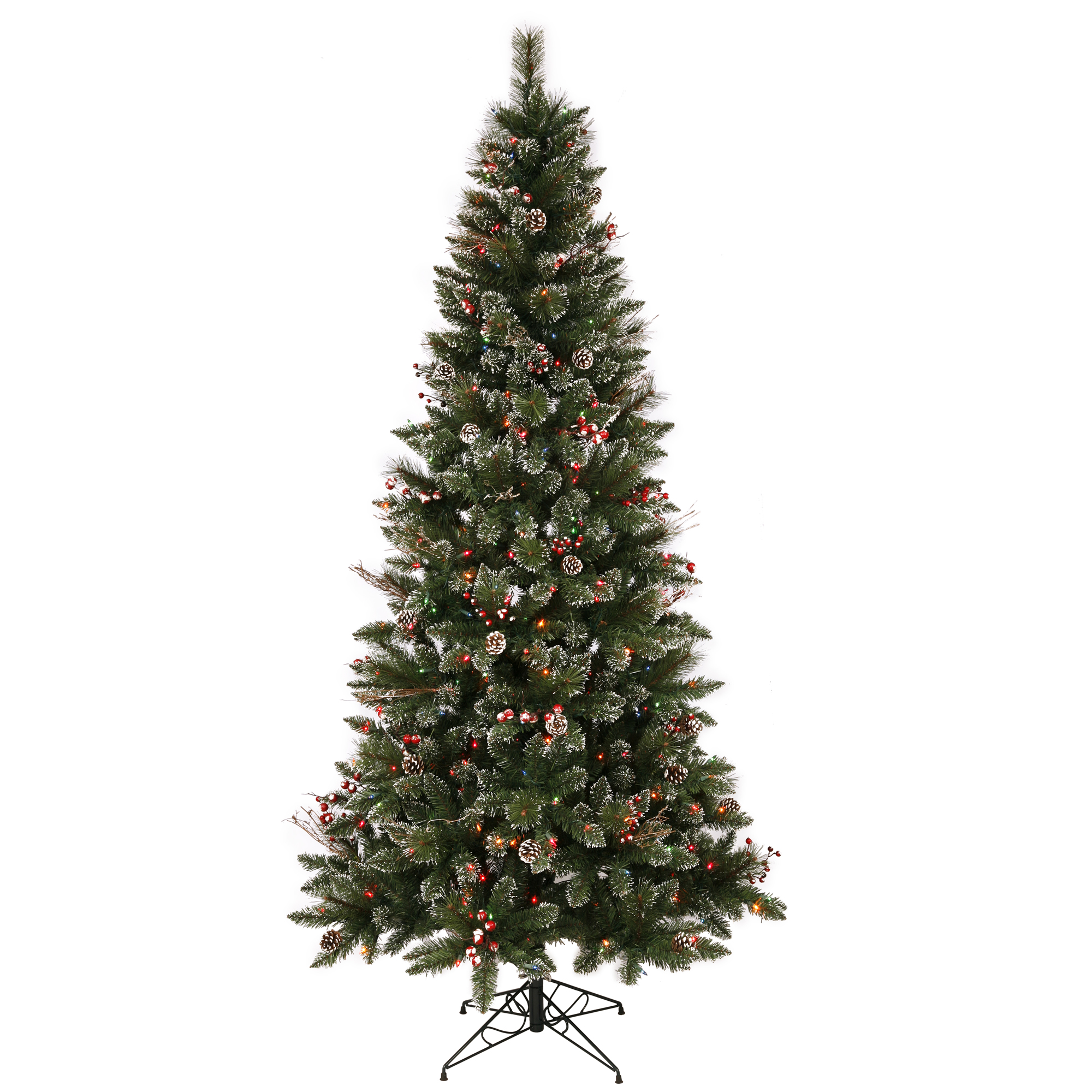 "Vickerman Artificial Christmas Tree 6' x 36"" SnowTip Berry Dura-lit LED 250 Multi-color Lights"