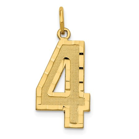 Roy Rose Jewelry 14K Yellow Gold Large Diamond Cut Number 4 Charm Pendant