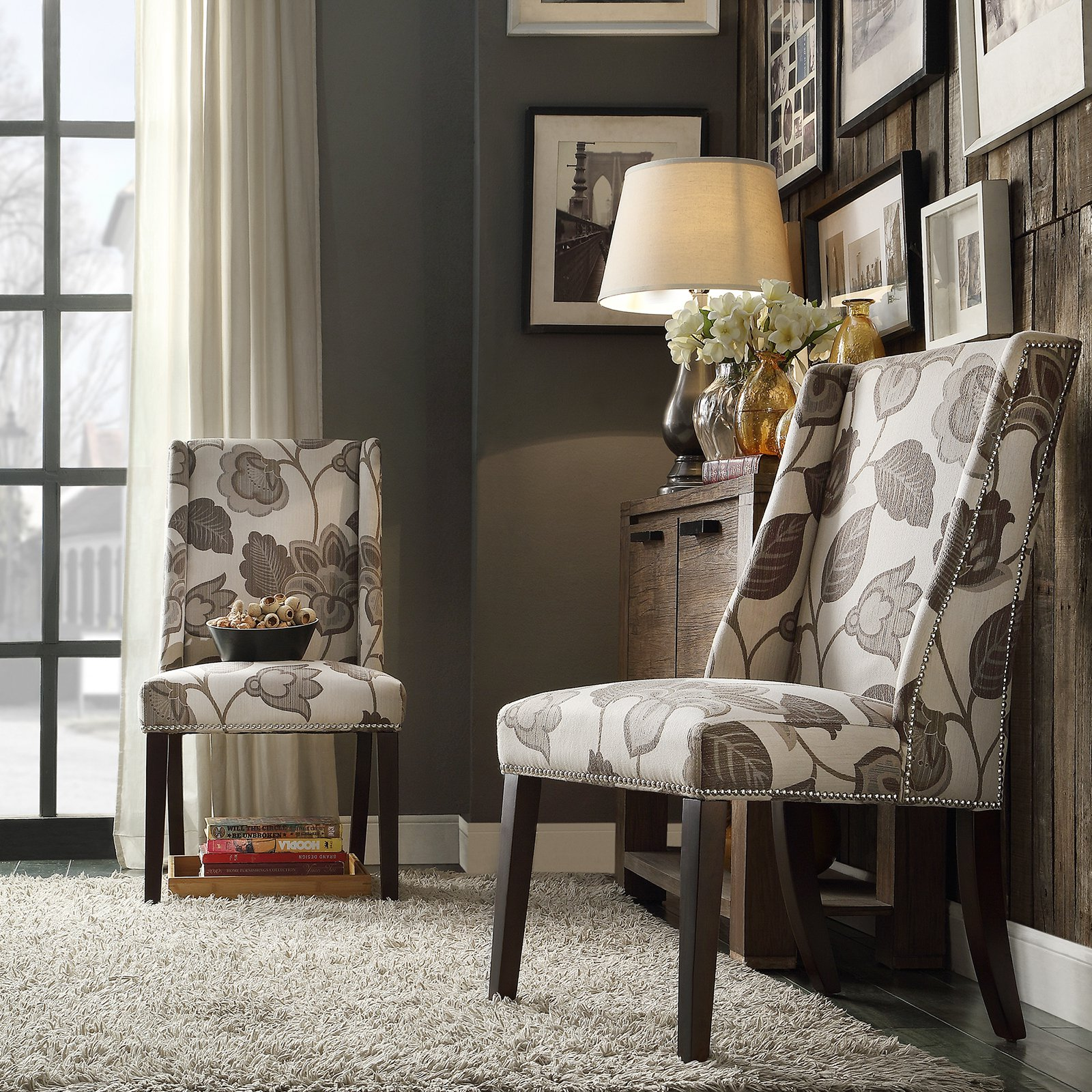 Chelsea Lane Classic Gray Flower with Leaves Print Wingback with Nailhead Accent