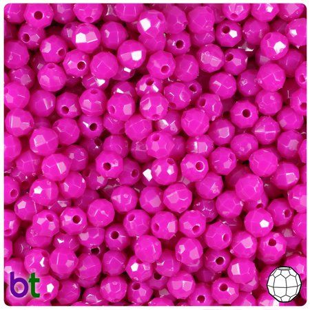 BeadTin Mulberry Opaque 6mm Faceted Round Plastic Beads (750pcs)