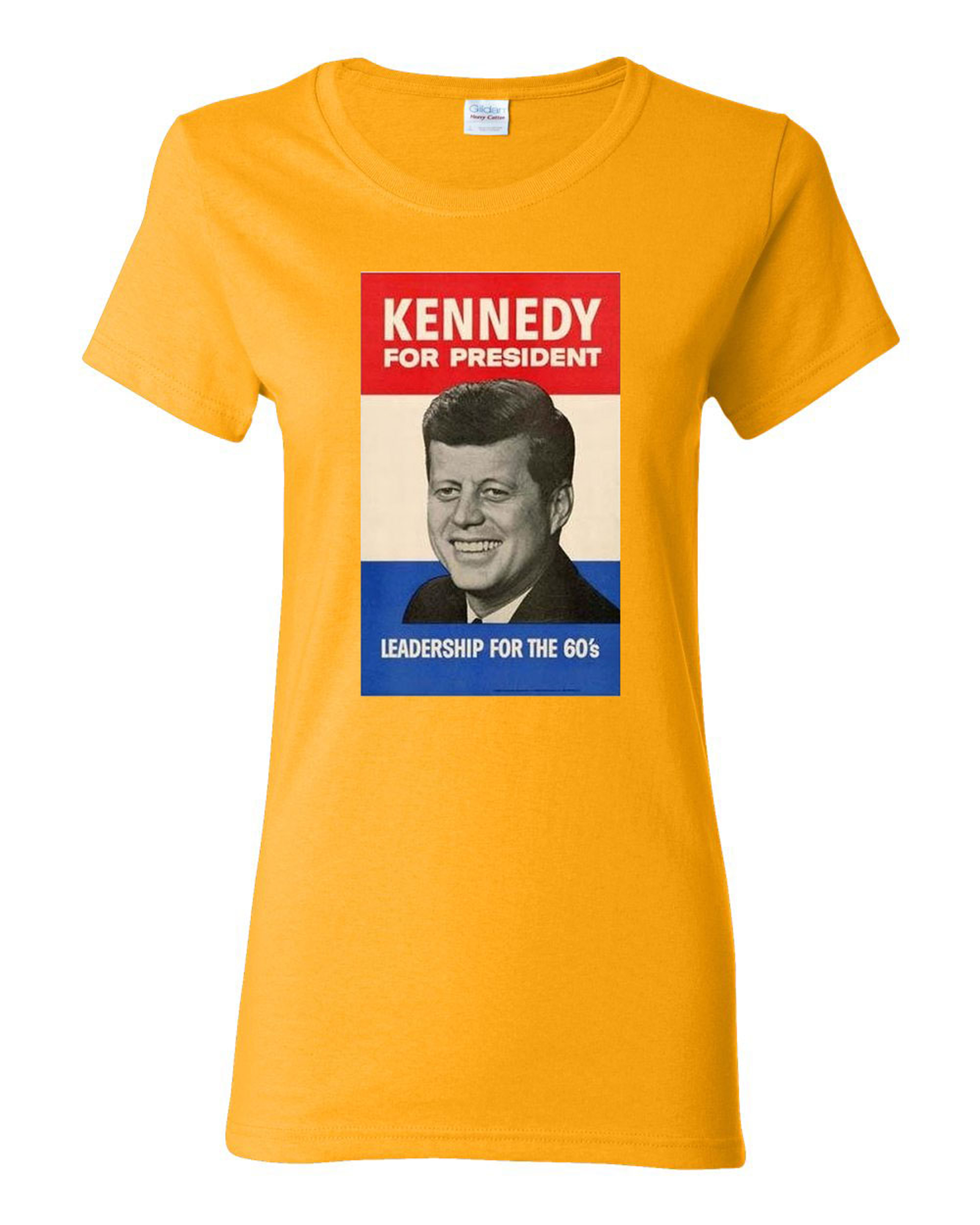 Ladies John F. Kennedy JFK 1960 Campaign Poster T-Shirt Tee