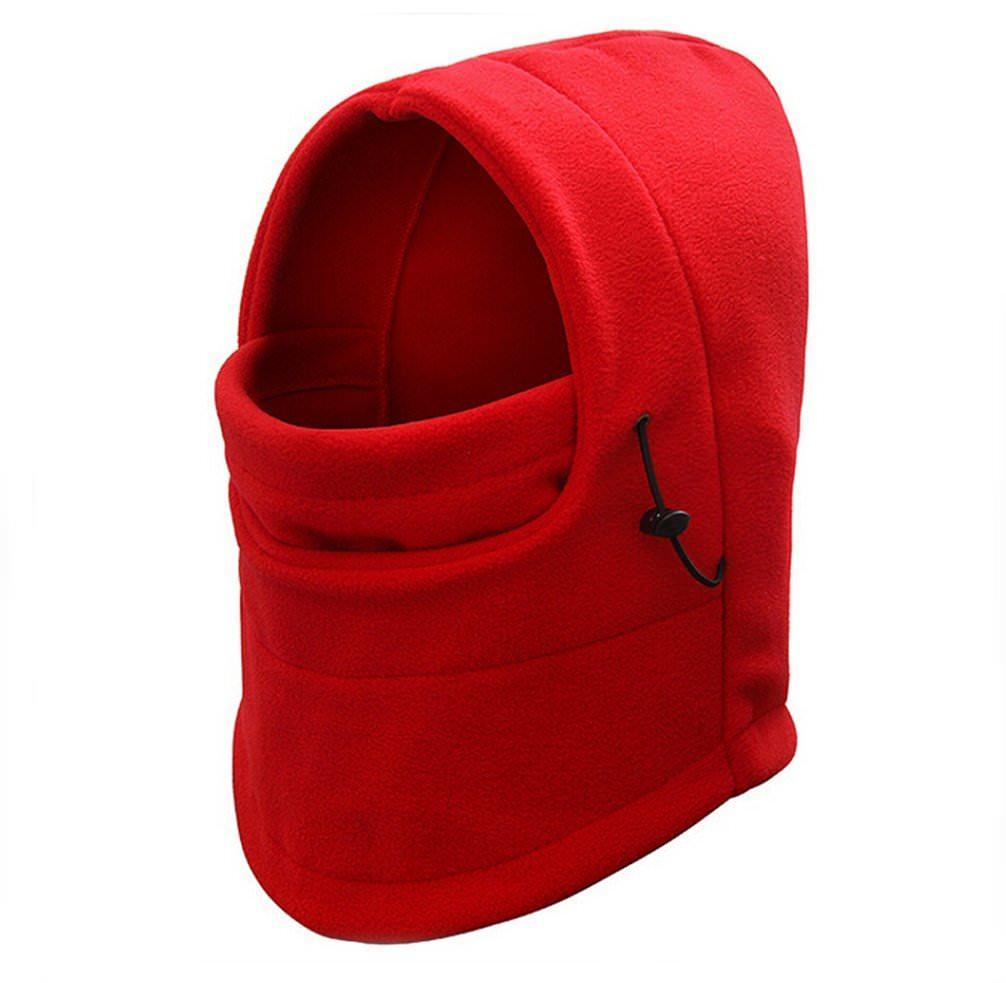 Adjustable Fleece Windproof Ski Face Mask Balaclavas Hood - black
