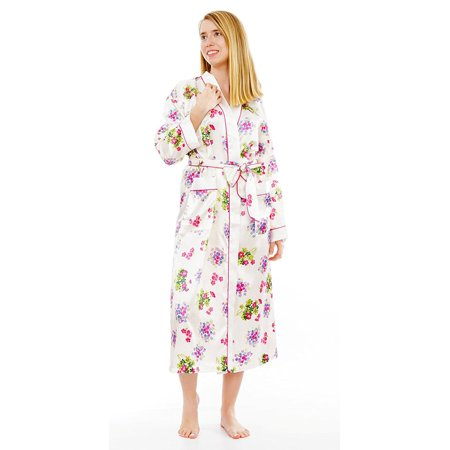 Up2date Fashion's Women's Ivory Floral Print Long Robe with (Floral Print Wrap Robe)