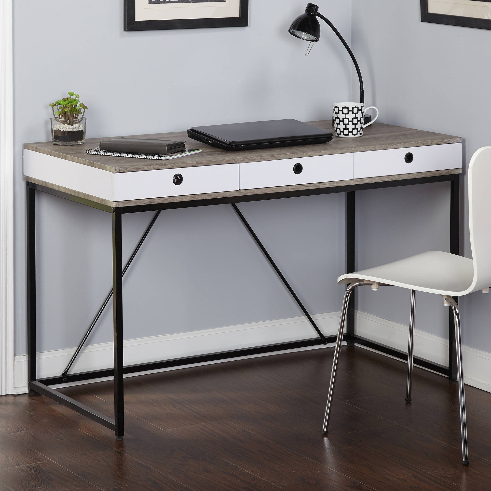Chelsea Desk with 3 Drawers, Black/Gray/White