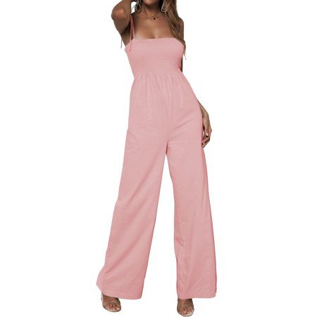 Womens Jumpsuit Solid Sleeveless Spaghetti Strap Sexy Romper Jumpsuits Casual Wide Leg Long Pants Palazzo (Palazzo Pants Jumpsuit)