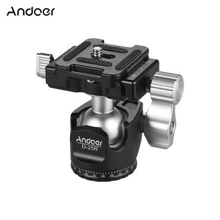 Andoer D-25R CNC Machining Aluminum Alloy Double Notch Ball Head Mini Ballhead Low Center of Gravity for Manfrotto etc Tripod Monopod for Canon Nikon Sony DSLR ILDC Cameras Max Load Capacity 10kg