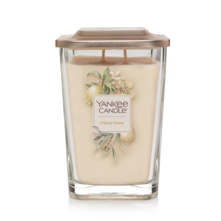 Yankee Candle Citrus Grove Elevation Collection with Platform Lid - Large 2-Wick Square Candle