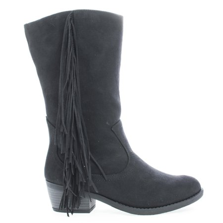 Elvo by Soda, Cowgirl Fringe Mid Calf Block Heel Women's Boots](Light Up Cowgirl Boots)