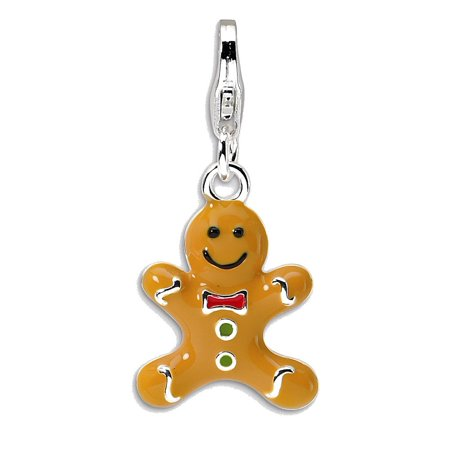 Sterling Silver 3-D Enameled Gingerbread Cookie w/Lobster Clasp Charm