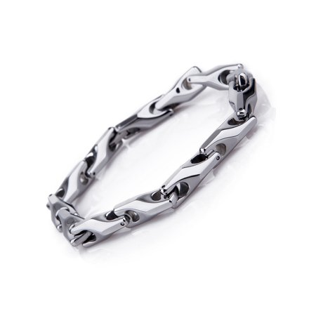 Classy Men's Solid Heavy Wheat Tungsten Carbide Bracelet - 3 Sided Links (Silver) ()