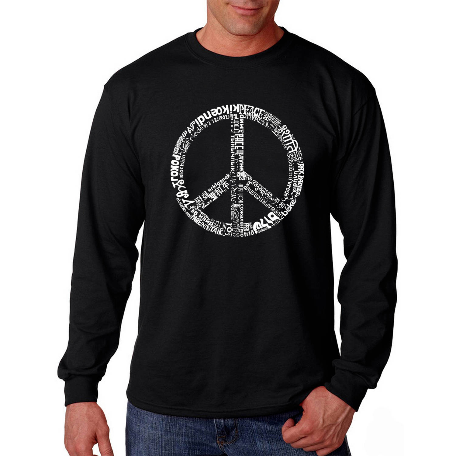 Los Angeles Pop Art Men's Long Sleeve T-shirt - The Word Peace in 77 Languages