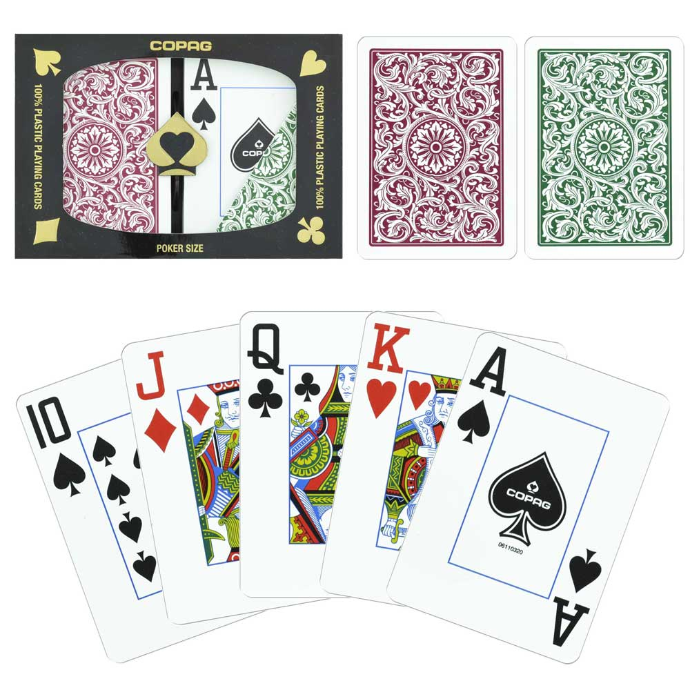 New COPAG Plastic Playing Cards Bridge Size Jumbo Index Burgundy Green FREE CUT