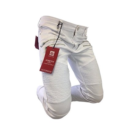 White Mens Jeans (Men's Victorious Jeans Straight Leg Distressed White Coated Biker Style Design)