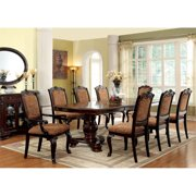 Furniture of America Ramsaran 9 Extendable Pedestal Dining Set in Brown Cherry