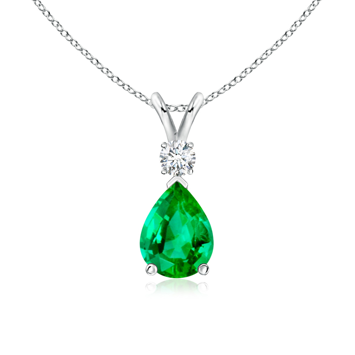 May Birthstone Pendant Necklaces Pear Emerald Teardrop Pendant Necklace with Diamond in 950 Platinum (8x6mm Emerald)... by Angara.com