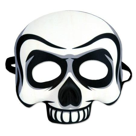 Plastic Half Mask (Pack of 6 Halloween Black and White Day of the Dead Skull Half Mask)