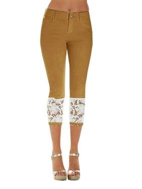 b93032ab1d597 Product Image Women's Lace Patchwork Skinny Capri Jeans Denim Pants