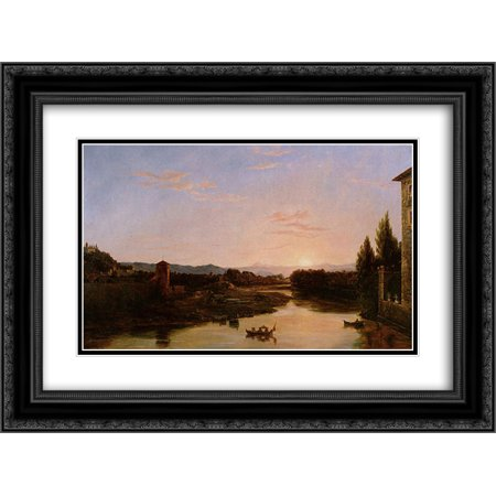 Thomas Cole 2X Matted 24X18 Black Ornate Framed Art Print Sunset Of The Arno