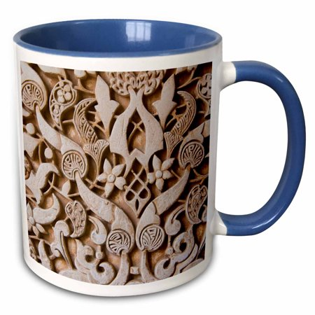 Granada Coupe - 3dRose Granada, Spain, Alhambra, detail of architecture in Nasrid Palace - Two Tone Blue Mug, 11-ounce