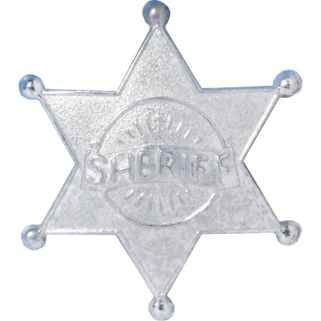 Deluxe Metal Wild West Cowboy Costume Accessory Silver Sheriff Badge