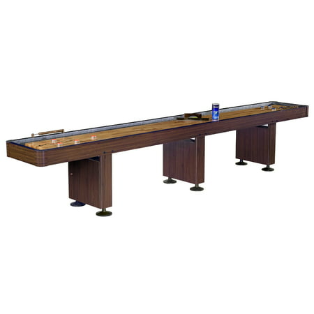 Hathaway Challenger 14-Ft Shuffleboard Table w Walnut Finish, Hardwood Playfield, Storage (Challenger Shuffleboard Table)