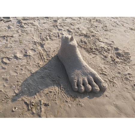LAMINATED POSTER Foot Beach Sand Sand Sculpture Polish Beach Statue Poster Print 24 x 36