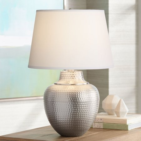 Barnes and Ivy Modern Table Lamp Hammered Brushed Nickel White Fabric Drum Shade for Living Room Family Bedroom Bedside Nightstand (Hammered Nickel Table)