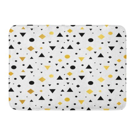 GODPOK Artistic Yellow Mustard Gold Black White Vintage Geometric Shapes Pattern Perfect Packaging Abstract Rug Doormat Bath Mat 23.6x15.7 inch