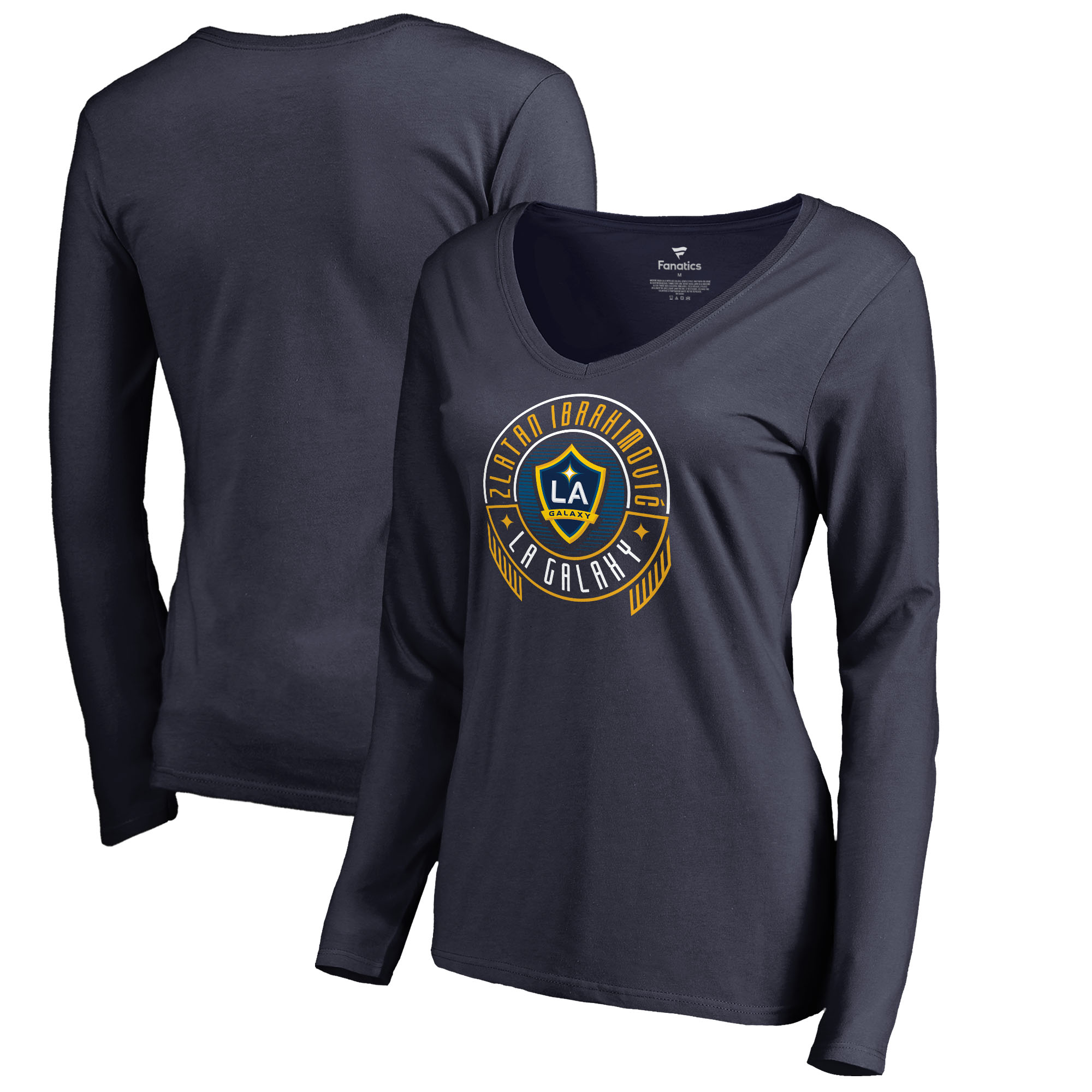 newest dea7a 8373b Zlatan Ibrahimovic LA Galaxy Fanatics Branded Women's Hometown Collection  Scarves Up Long Sleeve V-Neck T-Shirt - Navy