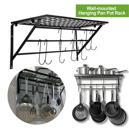 Yosoo Pots and Pan Rack,Decorative Wall Mounted Storage Hanging Rack,Multipurpose Wrought,Iron shelf Organizer for Kitchen Cookware,Utensils, Pans, Books, Bathroom (Wall Rack - Metal )