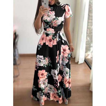 7b04a17cd9 UKAP - Asian size 2018 Summer Long Dress Floral Print Boho Beach Dress  Tunic Maxi Dress Women Evening Party Dress Vestidos female - Walmart.com