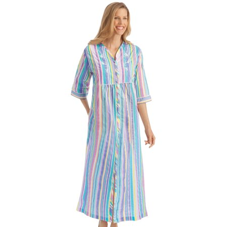 Women's Pastel Striped Lounger with Zip Front and 3/4 Long Sleeves, Xx-Large, Multi Stripe Long Lounger