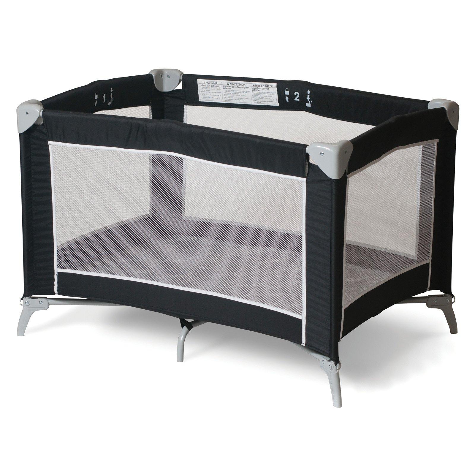 Foundations Sleep 'N Store Portable Playard Crib, Graphite Mod Plaid