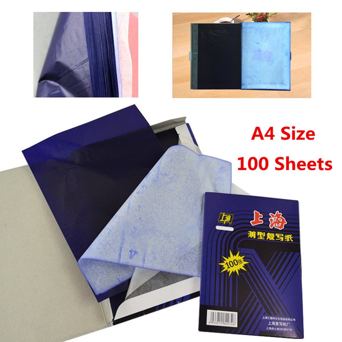Hot Sale 100 Sheets A4 Dark Blue Carbon Hand Copier Stencil Transfer Paper Hectograph