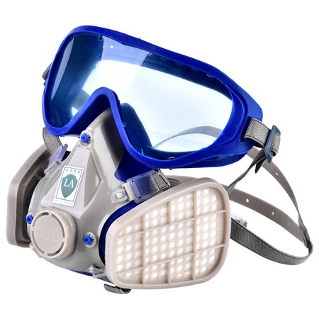 Tbest Silicone Full Face Respirator Gas Mask Goggles Particulate Chemical Dustproof, Anti-Dust Respirator Goggles, Respirator Gas - Biohazard Respirator Mask