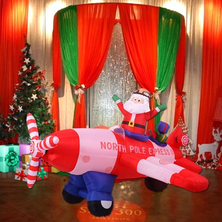 Costway 8 ft airblown inflatable christmas xmas santa for 4 ft santa claus decoration