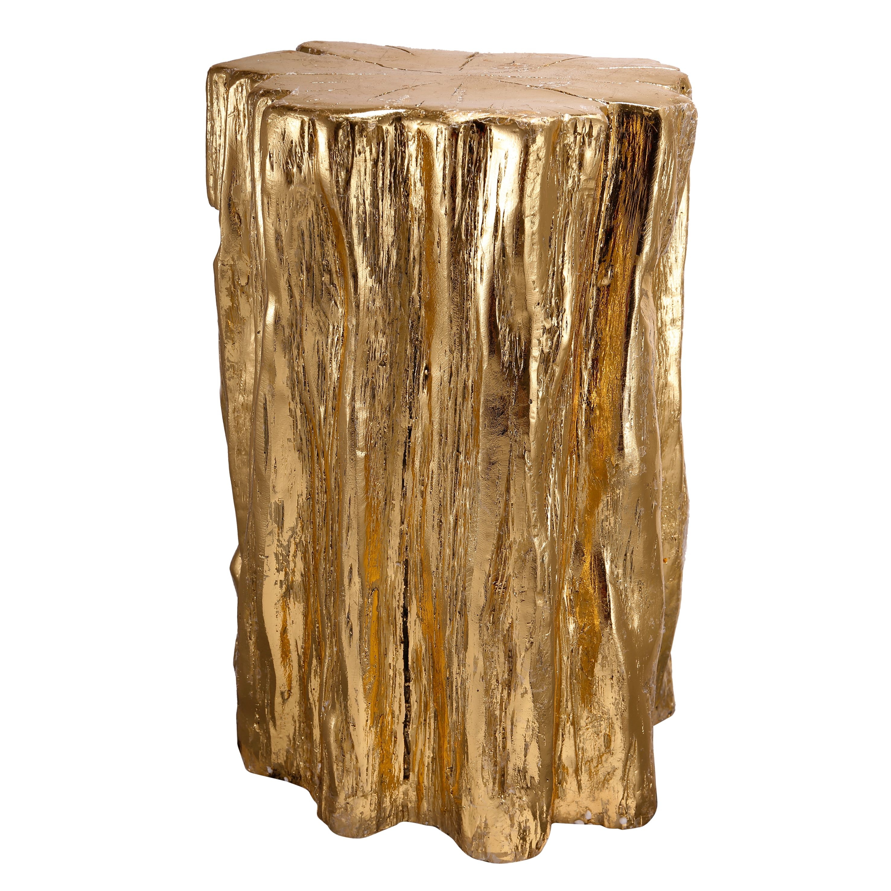 A&B Home Nature Inspired Tree Trunk Garden Stool or End Table, Gold