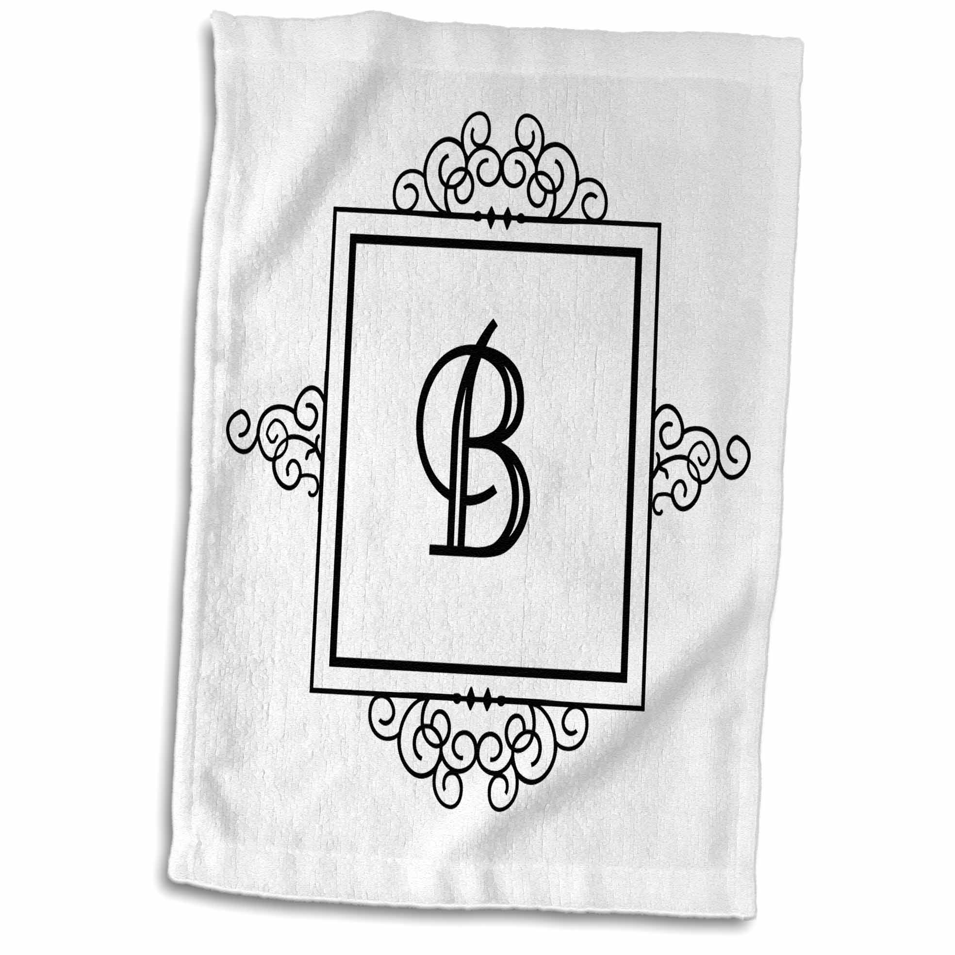 3dRose Initial letter B personal monogrammed fancy black and white typography elegant stylish personalized - Towel, 15 by 22-inch