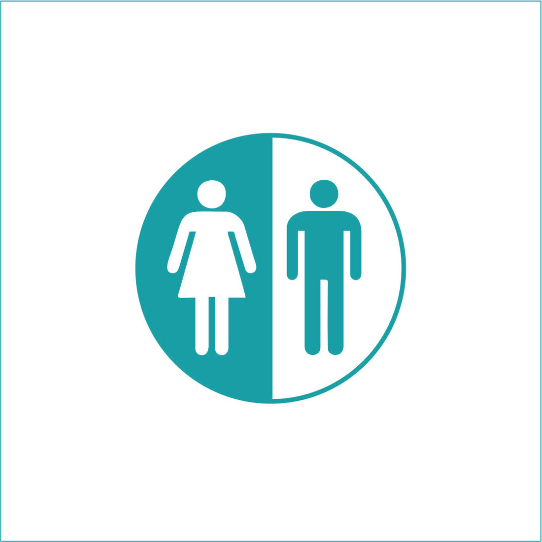 Unisex Bathroom Vinyl Graphic - Large